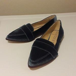 Sole Society Blue Velvet Loafers